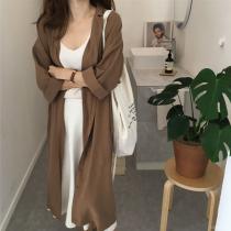 【預購】文藝女子專用.百搭款雪紡長袖長版襯衫外套~2色