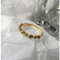 【預購】S925純銀 綠尖晶石開口可調節戒指