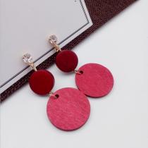 【預購】復古輕甜木紋垂墜大耳夾耳針耳環