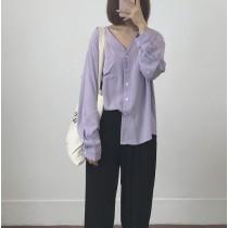 【現貨】氧氣女孩.簡約V領質感長袖防曬襯衫