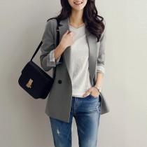 【預購】不挑場合可以穿的.韓版中長款休閒風西裝外套~2色(S-XL)