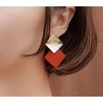 【現貨】復古撞色方塊無耳洞耳夾耳針式耳環(橘紅色-銀針)