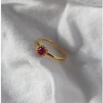 【預購】S925純銀鍍金系列.鑲嵌紅剛玉可調節開口戒指